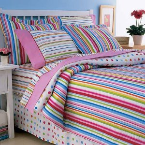 Striped Polka Dot Multicolor Twin Comforter Bed in a Bag Set