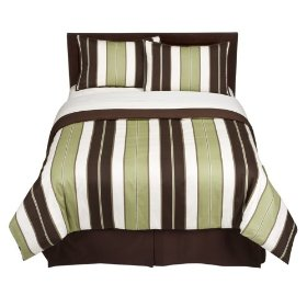 Home Stripe Comforter Set Green