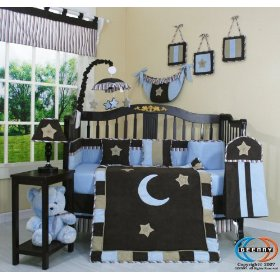 brown-and-blue-star-and-moon-crib-bedding