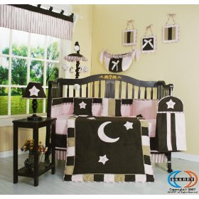 pink-and-brown-star-and-moon-crib-bedding