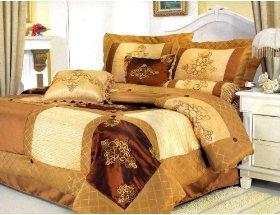 New Queen Luxury Satin Embroidery Patchwork