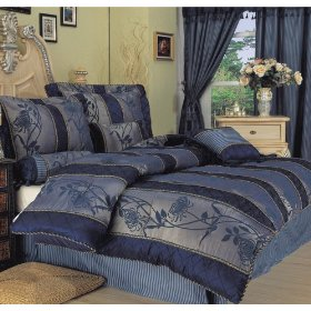 7 pce Navy Blue Chrysanthemum Flower Flocking Comforter Set BIAB