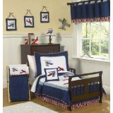 Red White and Blue Vintage Aviator Airplane Toddler Bedding Set